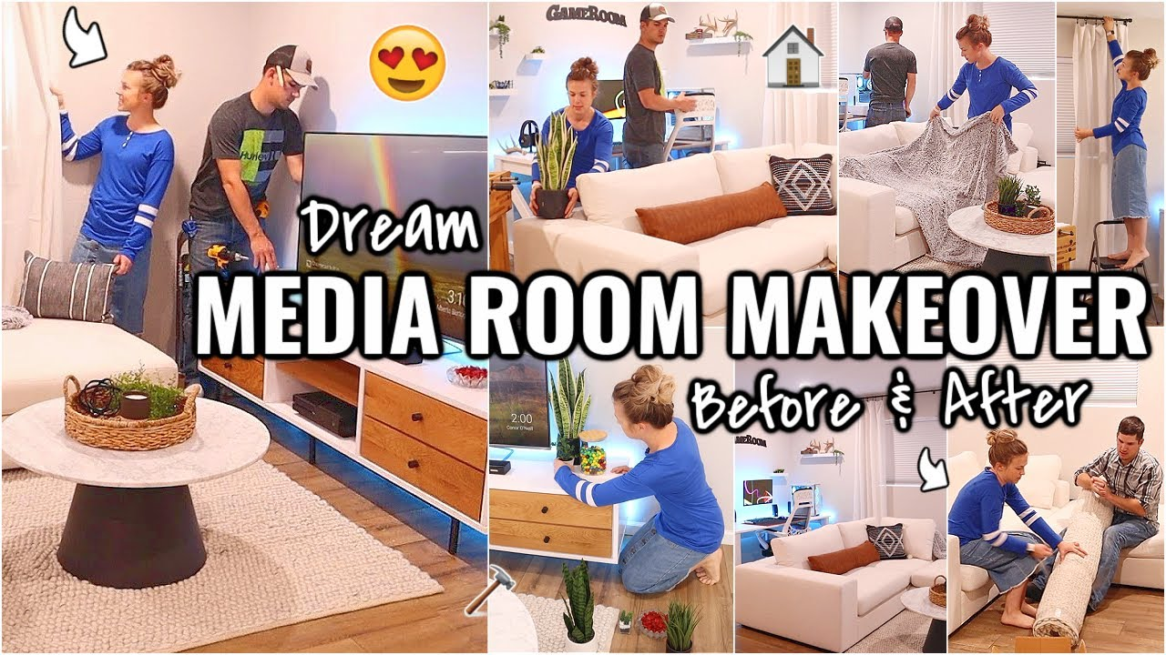 COMPLETE MEDIA ROOM MAKEOVER!!😍 DECORATE WITH ME | BEFORE AND AFTER OF OUR ARIZONA FIXER UPPER