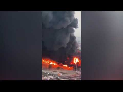 Massive fire in Ajman , United Arab Emirates