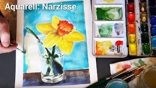 Blumen-Aquarell malen: Narzisse