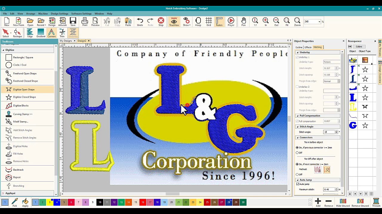 Hatch Embroidery How To Digitize A Logo For A Customer Step By Step Youtube