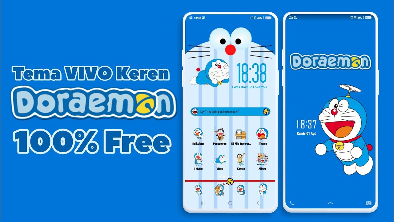 Tema VIVO Doraemon plus font and template widget 100% free 100% keren !!