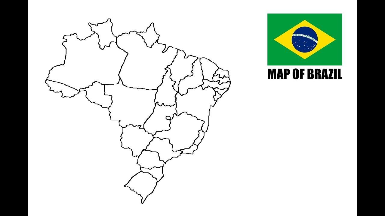 Map Of Brazil Como Desenhar O Mapa Do Brasil Youtube
