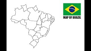 How to draw map of Brazil. Como desenhar o mapa do Brasil.