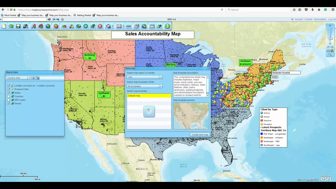 how do i create a territory map in map business online