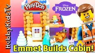 Lego Emmet Builds Log Cabin, Frozen Elsa Adds Snow! [lincoln Logs] [box Open] [unikitty] [minions]