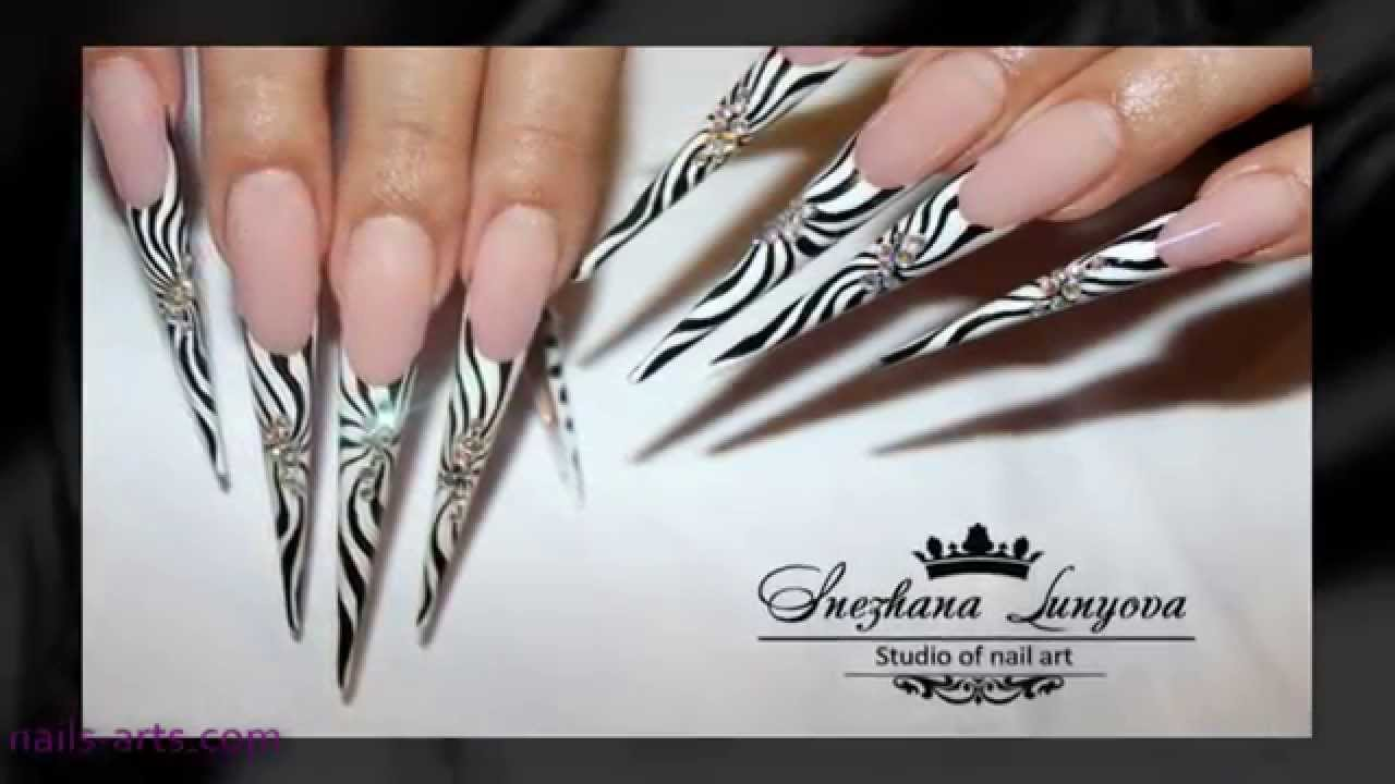 Stiletto Nail Designs - YouTube