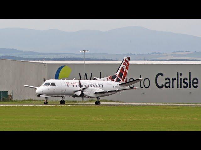 Loganair Saab340 First flights at Carlisle Lake District Airport