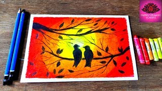 How to draw LOVE- BIRDS in a sunset by oil pastel quick & easy steps