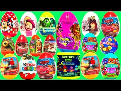 31 Surprise Eggs! Kinder Surprise MAXI Egg NEW Маша и Медведь Disney PIXAR Monsters University Cars Travel Video