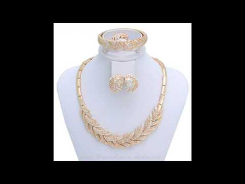18k Gold Plated Wedding Jewelry Necklace Set Luxury Women Party Set Rhinestone Bridal Fashion