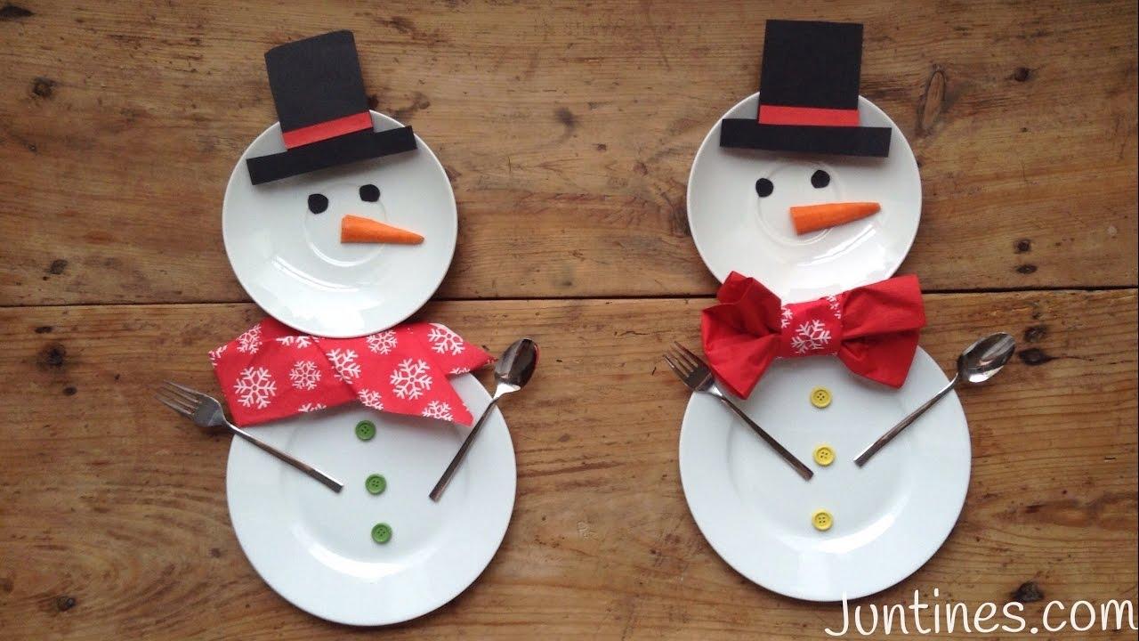 Mesa de navidad con mu ecos de nieve decoraciones for Imagenes de mesas navidenas