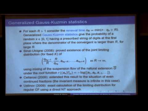 Some statistical properties of digits in continued fractions (GGD/GEAR Seminar)