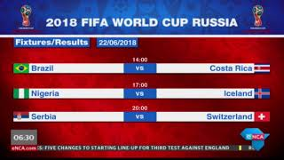 #WorldCup - Today's fixtures