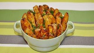 Картофель по-деревенски в духовке с чесноком