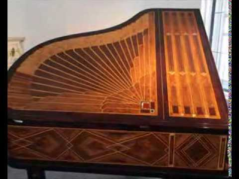 Mother Of Pearl >> Art cased, Peter Behrens, Schiedmayer Grand Piano with an Inlaid Art-Deco Case - YouTube