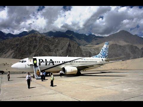 PIA flight landing at Skardu airport Pakistan