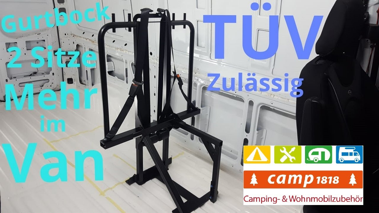 Sprinter Camper Van Umbau Gurtbock mit TÜV 9 eingetragene Sitzplätze  nachrüsten Doppelsitzbank