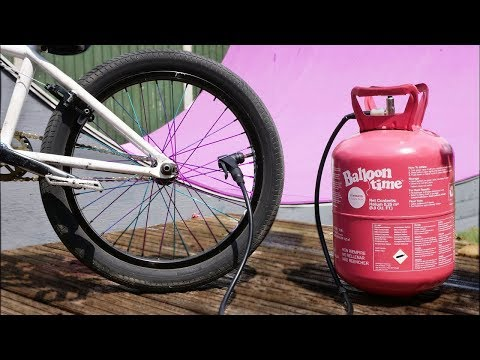 Filling a BMX TIRE with HELIUM