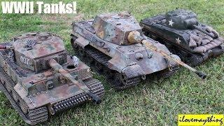 Toy Tanks For Kids? German Tiger, King Tiger and American Sherman 1:16 Tanks