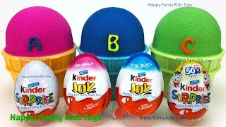 3 Kinetic Sand Ice Cream Cups and Kinder Surprise Eggs Fun for Kids