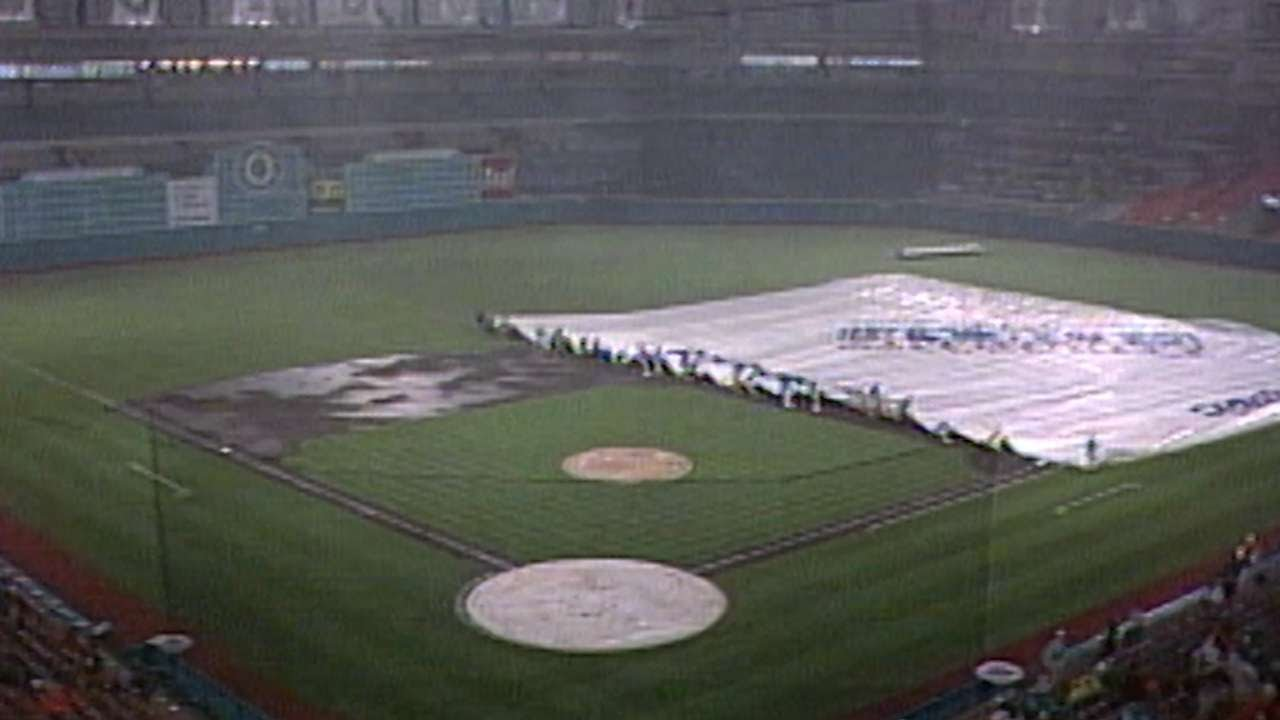 1993 – Brand new Florida Marlins franchise has the grounds crew attempt to cover the infield with a tarp during a rain delay for the first time. It doesn't go well.