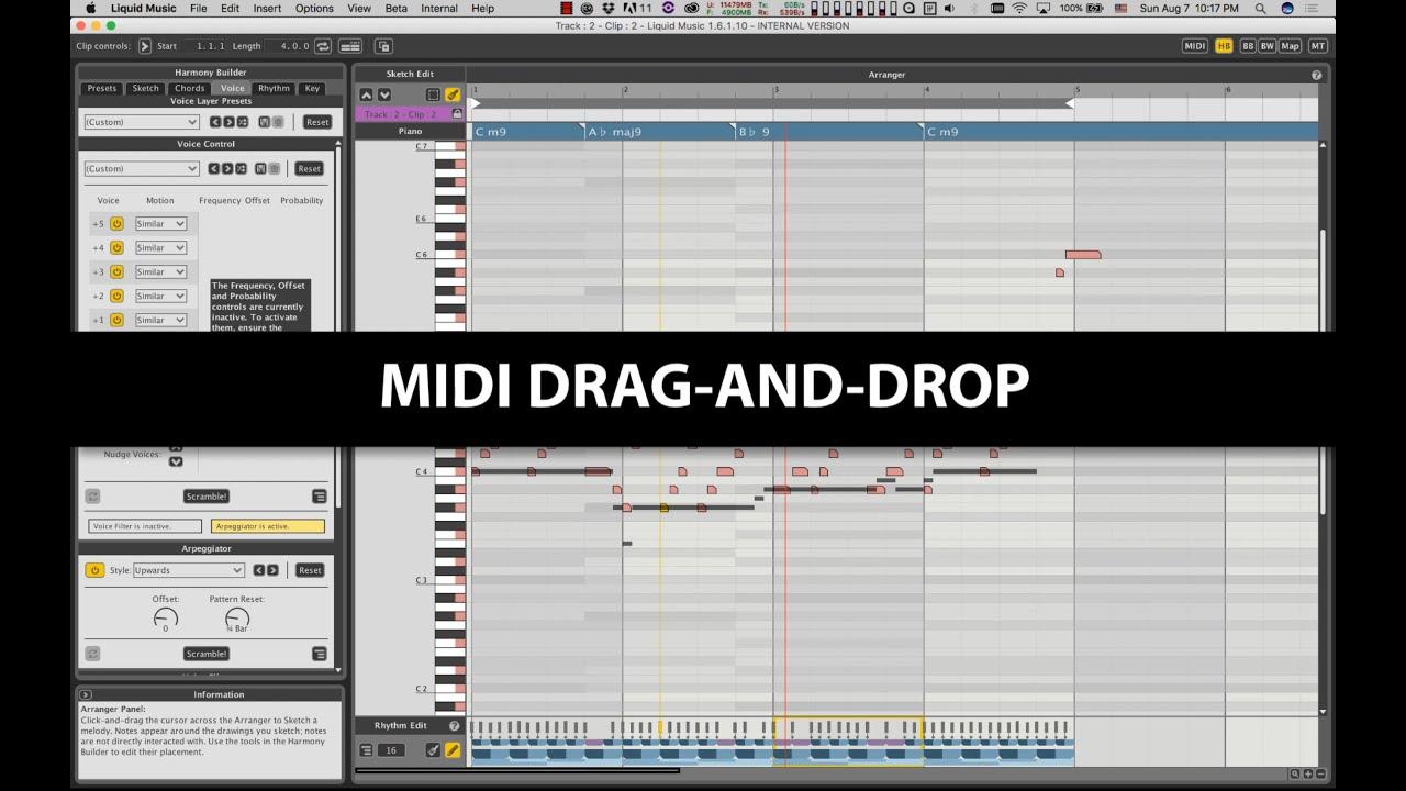 Liquid Music - Export MIDI: Drag-n-Drop