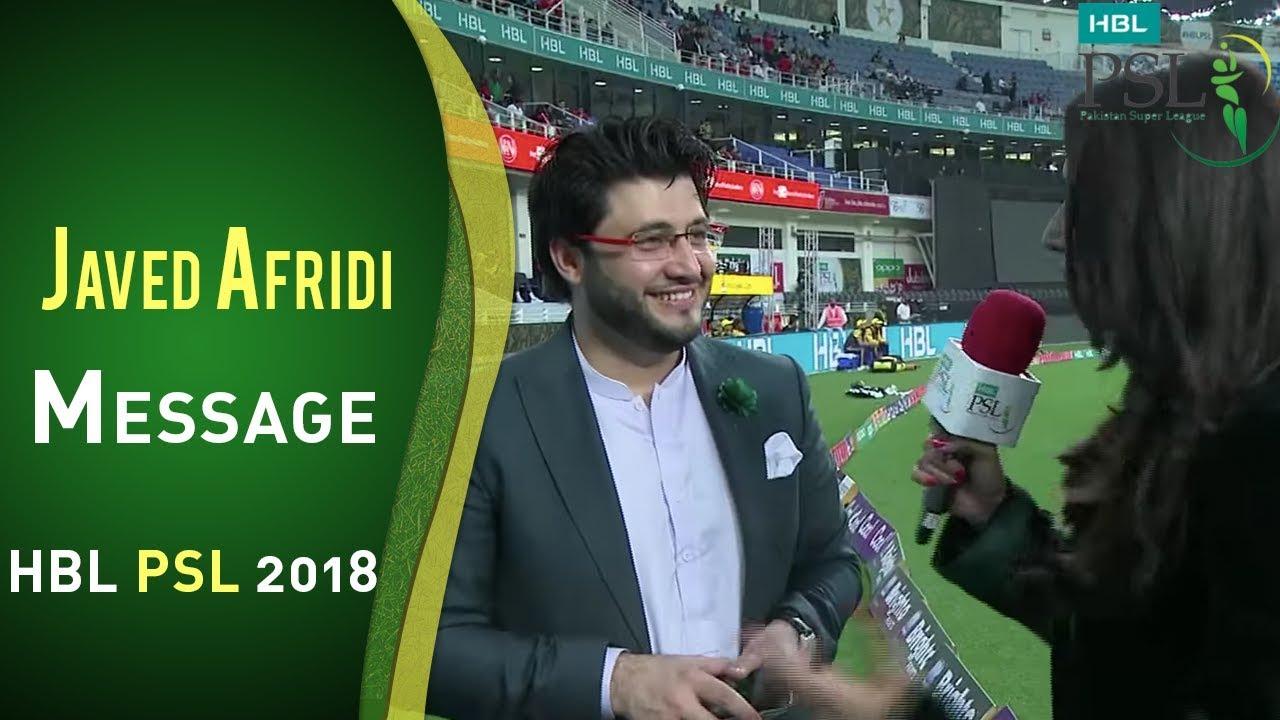 Javed Afridi Message For Fans Of Peshawar Zalmi   HBL PSL 2018   PSL
