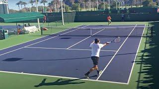 Roger Federer / Ernesto Escobedo (60 fps) 2017 Indian Wells Practice 3/11/17 BNP Paribas Open