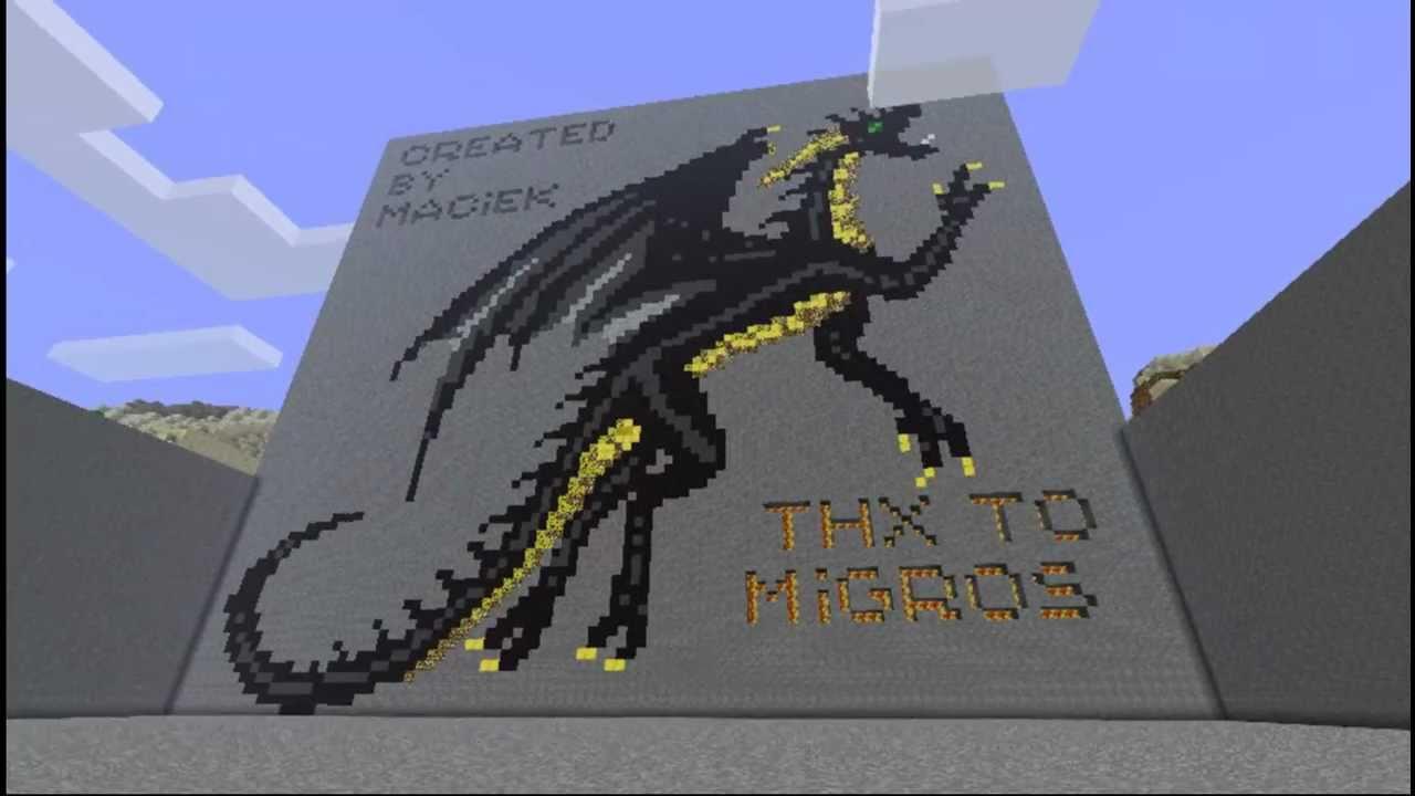 Minecraft A Big Dragon Pixel Art Youtube
