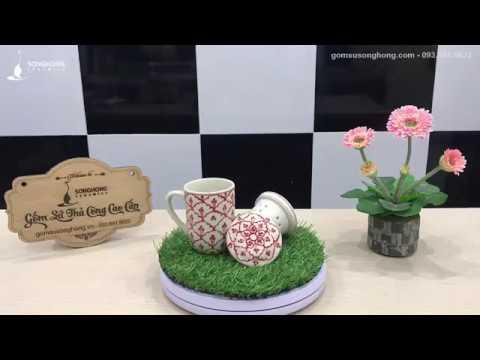 [gomsusonghong.com] Bộ Tách Lọc Trà Vẽ Tay Cánh Hoa Đỏ Bát Tràng