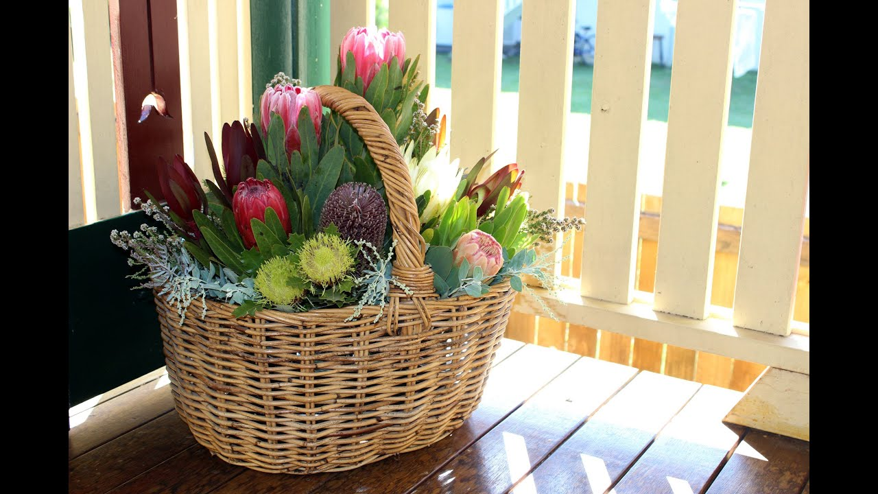 native flower arrangement in a basket a how to tutorial