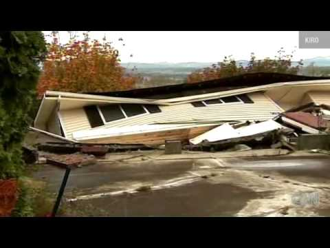 SANDY....Sinking homes, Homes collapse slide off hill