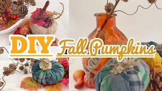 EASY PUMPKIN DIY   Low Budet Fall Decor   How To Make Reusable Pumpkin Stems   Foam Pumpkin Makeover