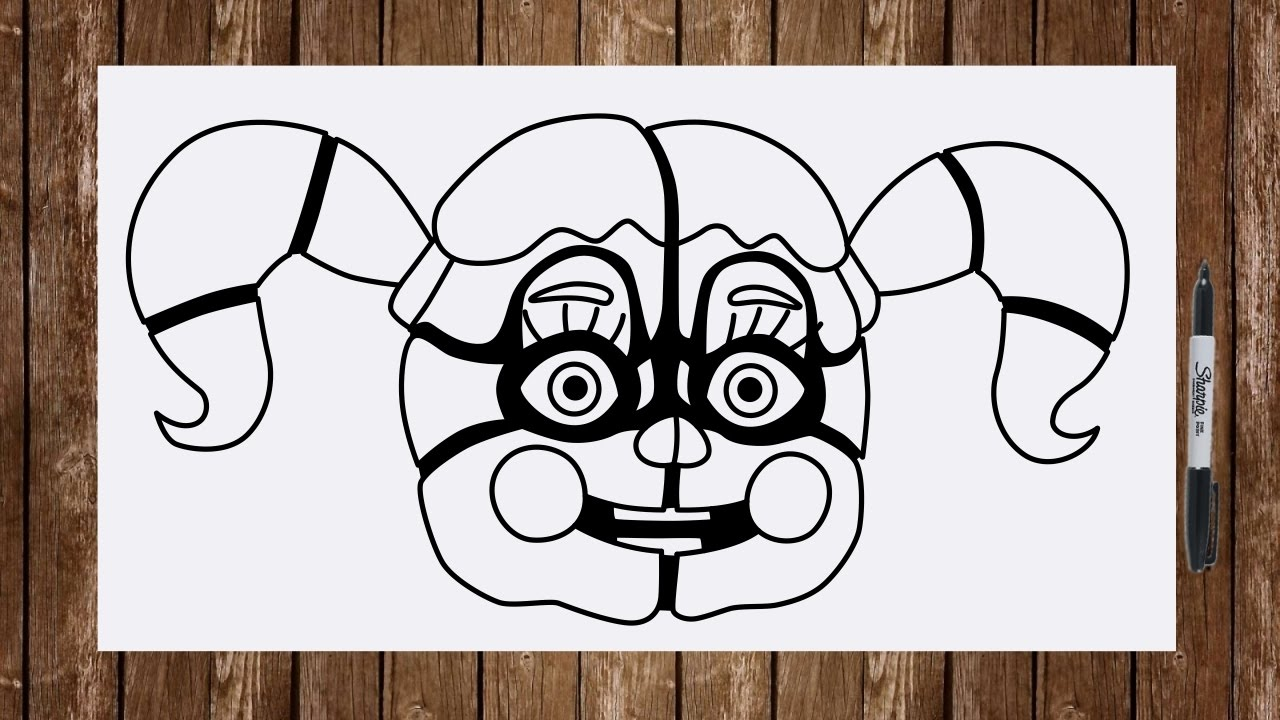 Line Art Baby : How to draw fnaf sister location characters circus baby face