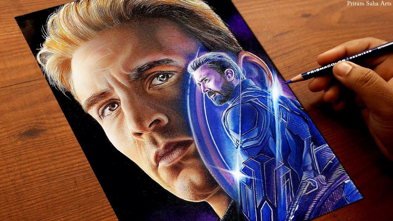 Captain America Drawing - The First Avenger | Chris Evans | Pritam Saha Arts