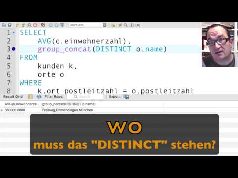 GROUP_CONCAT Und DISTINCT In MySQL (mit Übung) (deutsch)