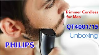 Philips Beard Trimmer Cordless for Men QT4001/15,UNBOXING / REVIEW
