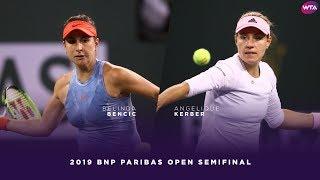 Belinda Bencic vs Angelique Kerber  2019 BNP Paribas Open Semifinals  WTA Highlights
