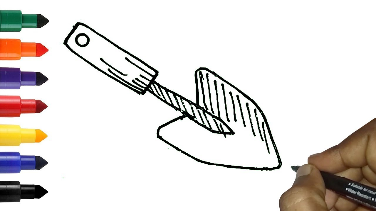 How To Draw Hand Trowel Easy Gardening Tools Drawing For Kids