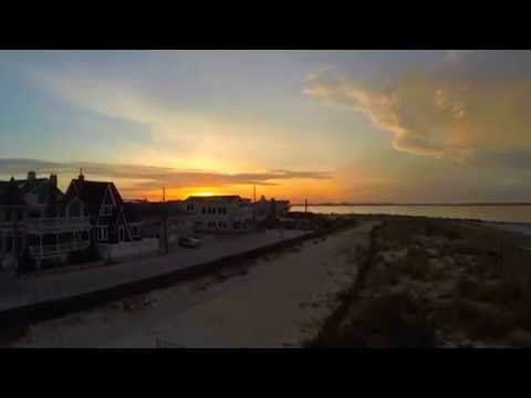 Point Lookout NY - Sunrise over the ocean - drone footage, Point Lookout Beach