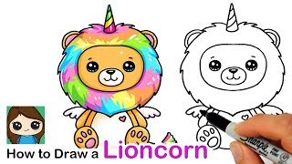 How to Draw a Lion Rainbow Unicorn Easy | Lioncorn