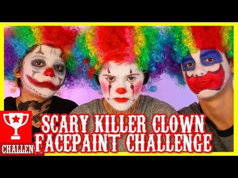 SCARY CLOWN!  FACE PAINT CHALLENGE!     KITTIESMAMA