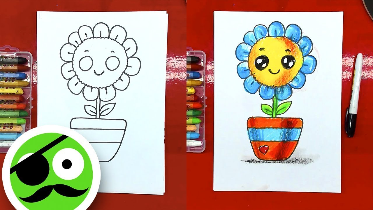 How to draw a flower in a pot KAWAII Coloring pages - YouTube