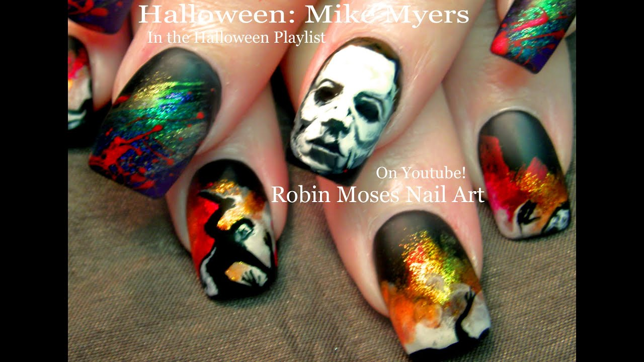 HALLOWEEN Nails | DIY Scary Mike Myers Nail Art Design Tutorial ...