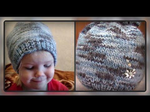 осенне -  весенняя детская шапка, вязание спицами