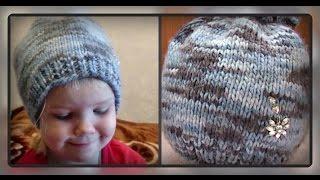 осенне -  весенняя детская шапка, вязание спицами(вам потребуется: полушерсть ( толстый меланж ) - примерно 80 - 100 гр, спицы № 3 и №5, крючок № 3 простая детская..., 2016-11-14T07:10:32.000Z)