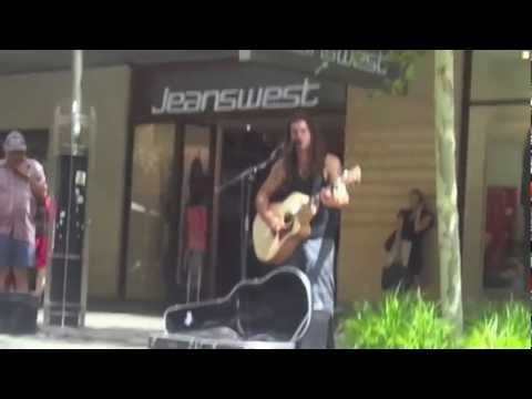 Street artist in Perth, cover : Fast car (Tracy) by Petar Cirovic