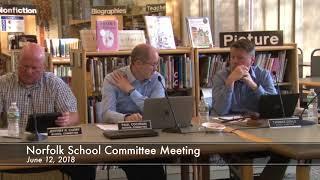 Norfolk School Committee Meeting - June 12, 2018