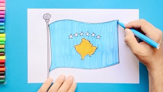 How to draw and color Flag of Kosovo