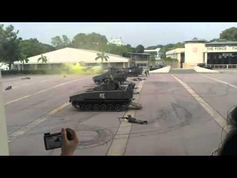 Mock Battle at HQ Armour, Sungei Gedong Camp